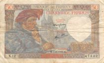 France 50 Francs Jacques Coeur - 13-06-1940 Serial N.12 - VF