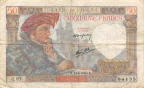 France 50 Francs Jacques Coeur - 13-06-1940 Serial Q.10 - VF