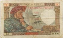 France 50 Francs Jacques Coeur - 13-06-1940 Serial S.9 - VF