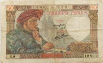 France 50 Francs Jacques Coeur - 13-06-1940 Serial S.9 - VF