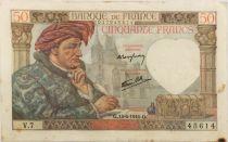 France 50 Francs Jacques Coeur - 13-06-1940 Serial V.7 - VF