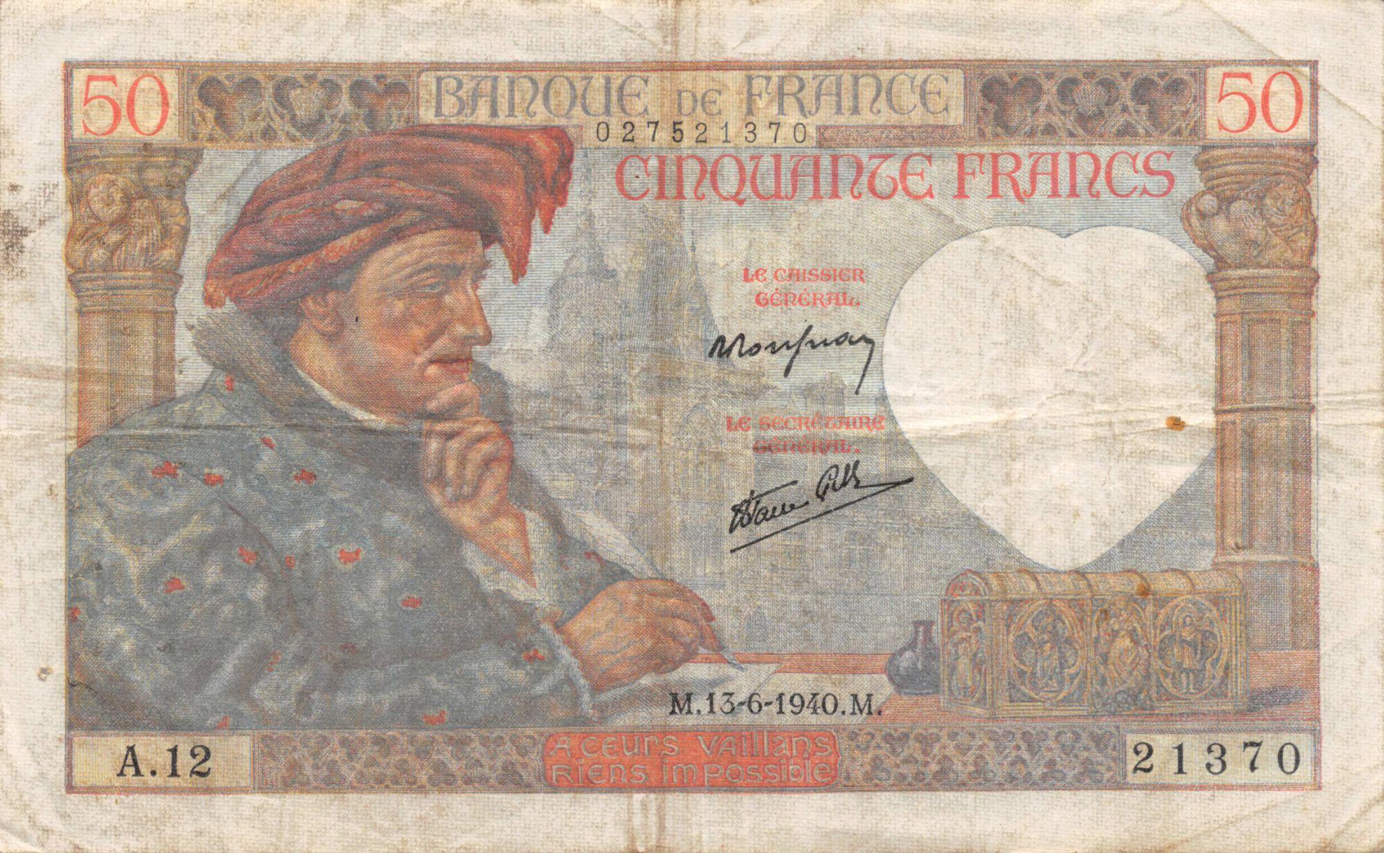 France 50 Francs Jacques Coeur - 13-06-1940 Série A.12 - TB+