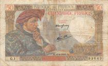 France 50 Francs Jacques Coeur - 13-06-1940 Série G.1 - TB