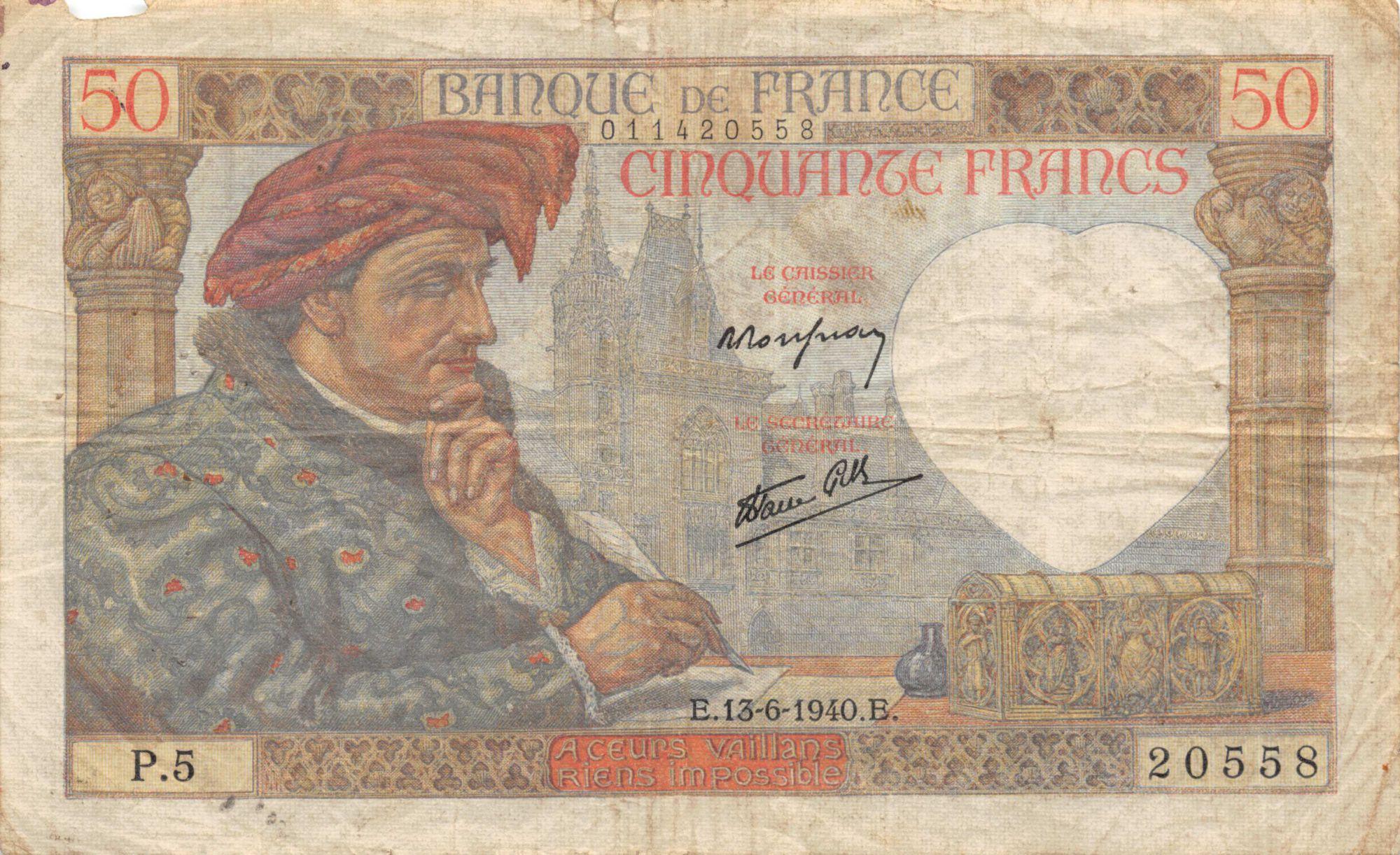 France 50 Francs Jacques Coeur - 13-06-1940 Série P.5 - TB+