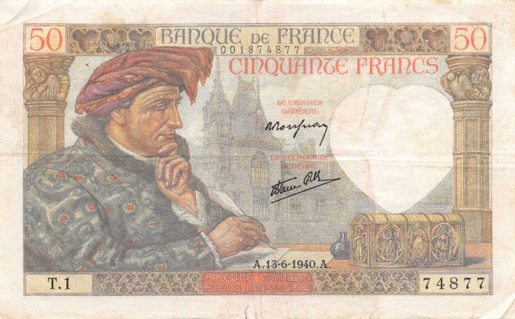 France 50 Francs Jacques Coeur - 13-06-1940 Série T.1 - TTB