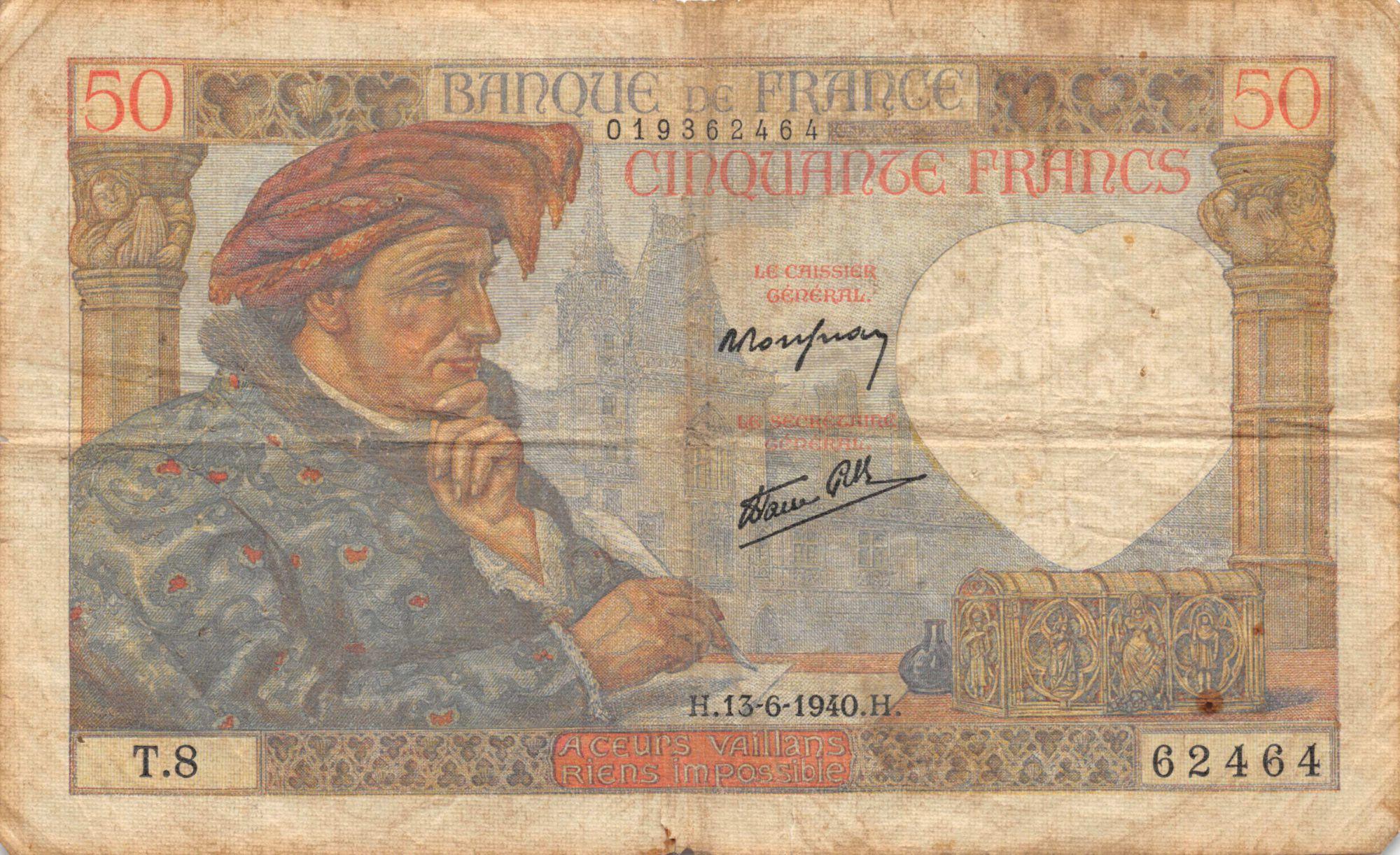 France 50 Francs Jacques Coeur - 13-06-1940 Série T.8 - TB