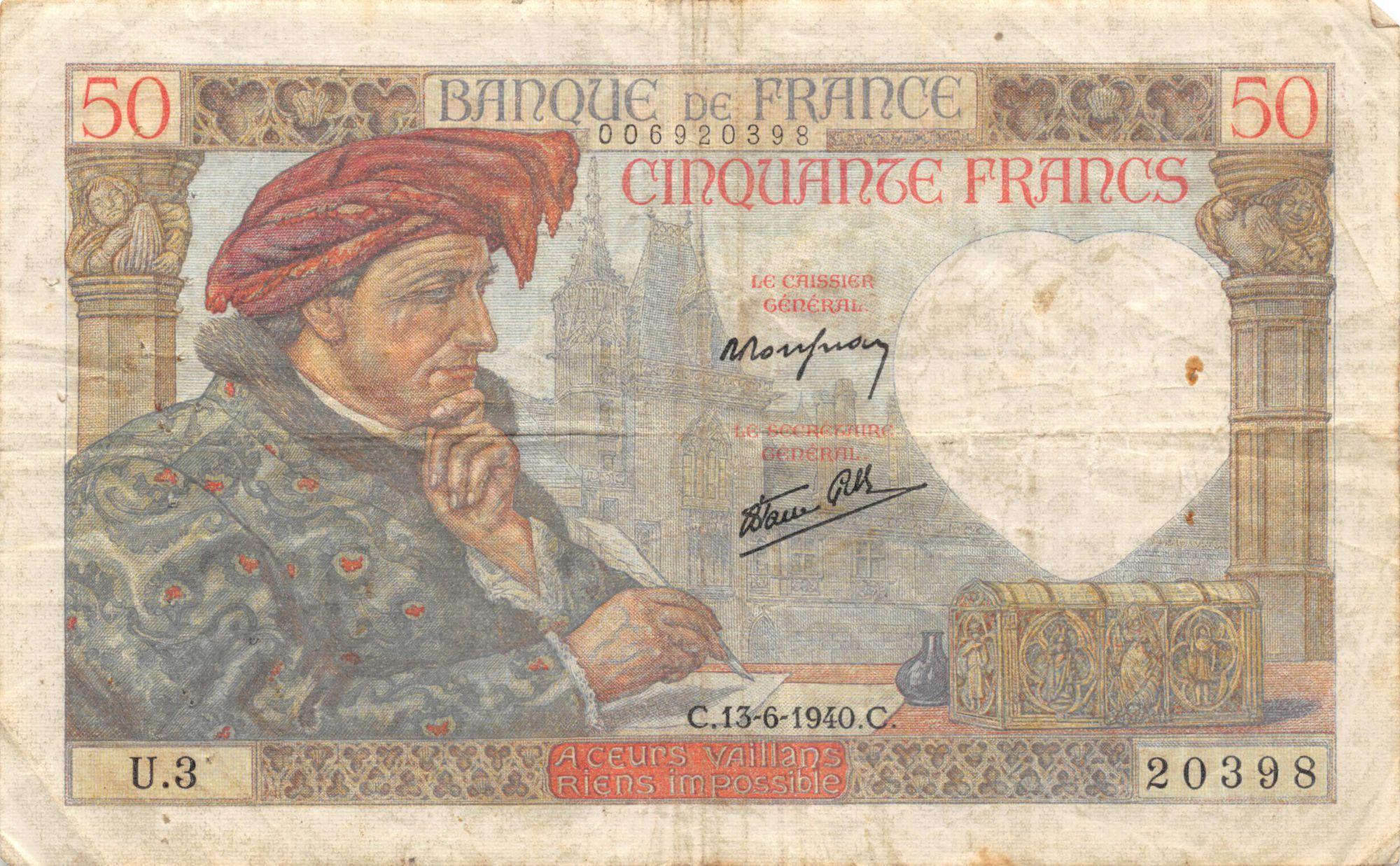 France 50 Francs Jacques Coeur - 13-06-1940 Série U.3 - TB+