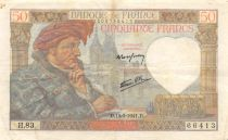 France 50 Francs Jacques Coeur - 15-05-1941 Serial H.83 - VF