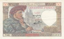 France 50 Francs Jacques Coeur - 15-05-1941 Serial T.80 - VF