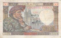 France 50 Francs Jacques Coeur - 15-05-1942 Serial T.168 - F