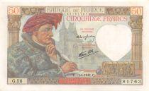 France 50 Francs Jacques Coeur - 17-04-1941 Série G.56 - SUP