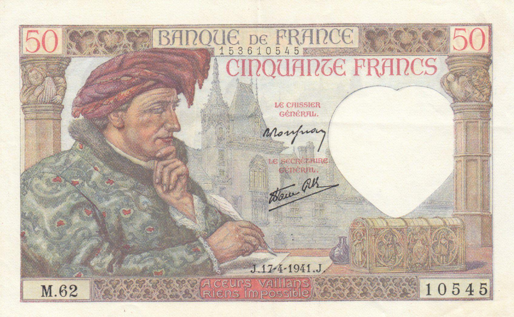 France 50 Francs Jacques Coeur - 17-04-1941 Série M.62 - SUP