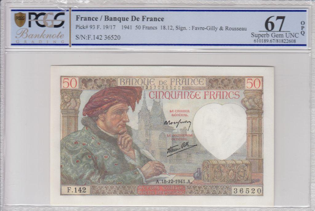 France 50 Francs Jacques Coeur - 18-12-1941 Serial F.142 - PCGS 67OPQ