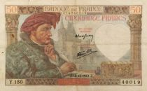 France 50 Francs Jacques Coeur - 18-12-1941 Serial Y.150 - VF