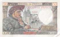 France 50 Francs Jacques Coeur - 18-12-1941 Serial Y.151 - F to VF