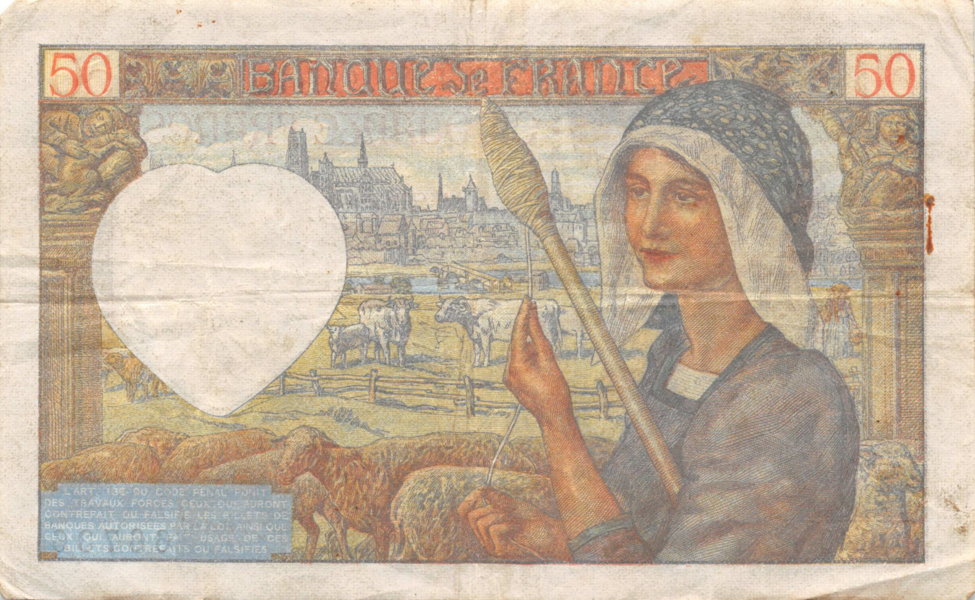 France 50 Francs Jacques Coeur - 18-12-1941 Série C.146 - PTTB