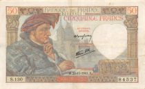 France 50 Francs Jacques Coeur - 20-11-1941 Serial S.130 - VF