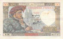 France 50 Francs Jacques Coeur - 23-01-1941 Série B.36 - PTTB
