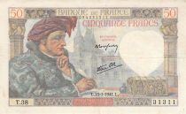 France 50 Francs Jacques Coeur - 23-11-1940 Serial T.38 - F to VF