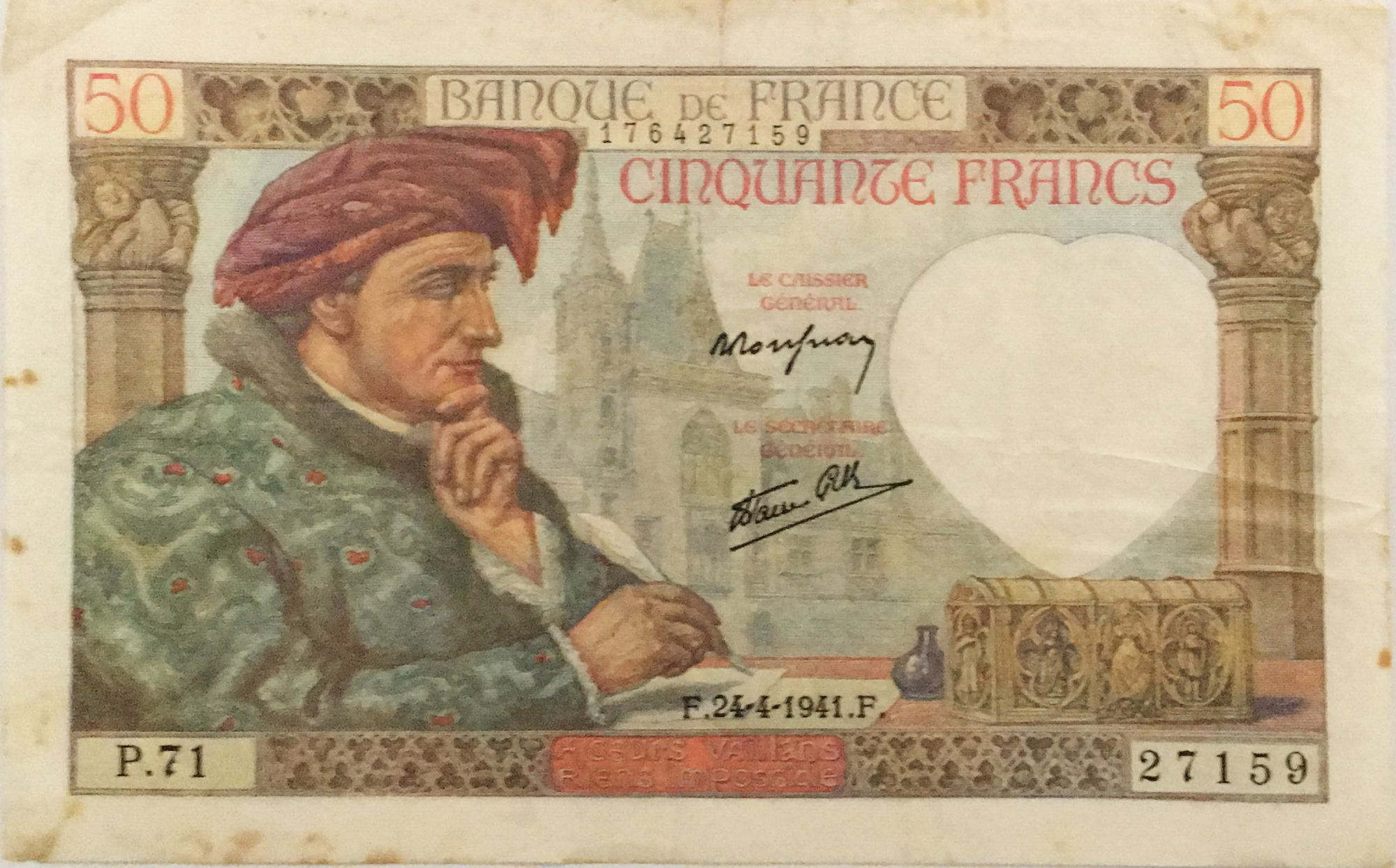 France 50 Francs Jacques Coeur - 24-04-1941 Serial P.71 - VF
