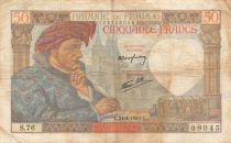 France 50 Francs Jacques Coeur - 24-04-1941 Serial S.76 - F to VF