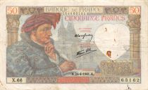 France 50 Francs Jacques Coeur - 24-04-1941 Serial X.66 - F to VF