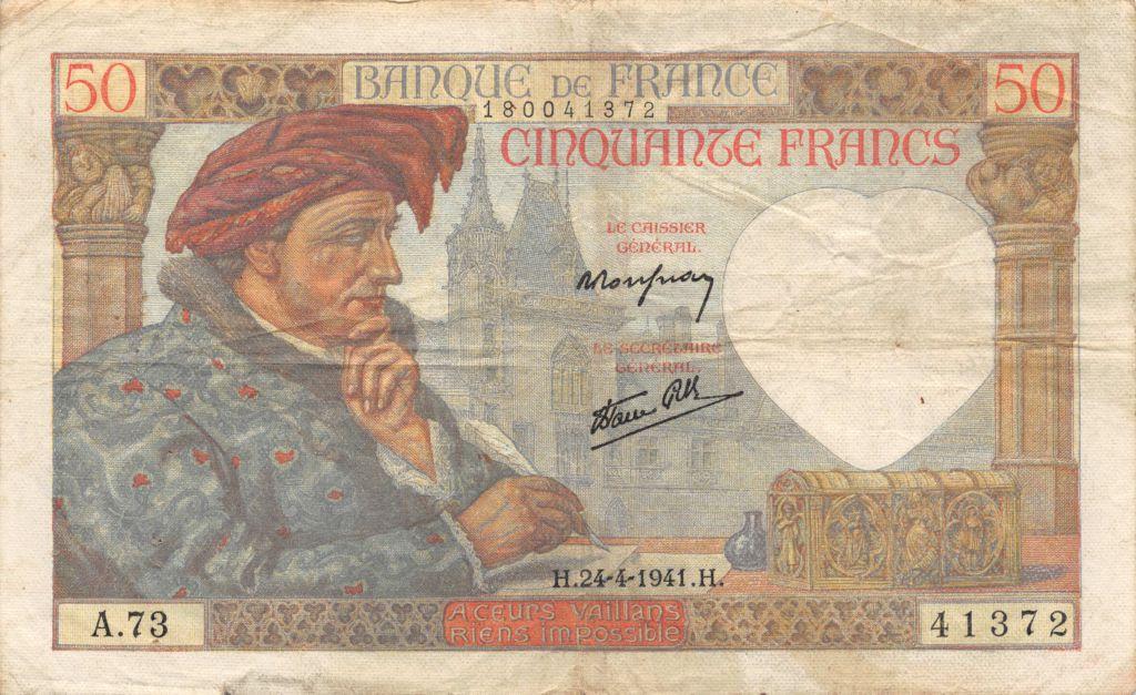 France 50 Francs Jacques Coeur - 24-04-1941 Série A.73 - TTB