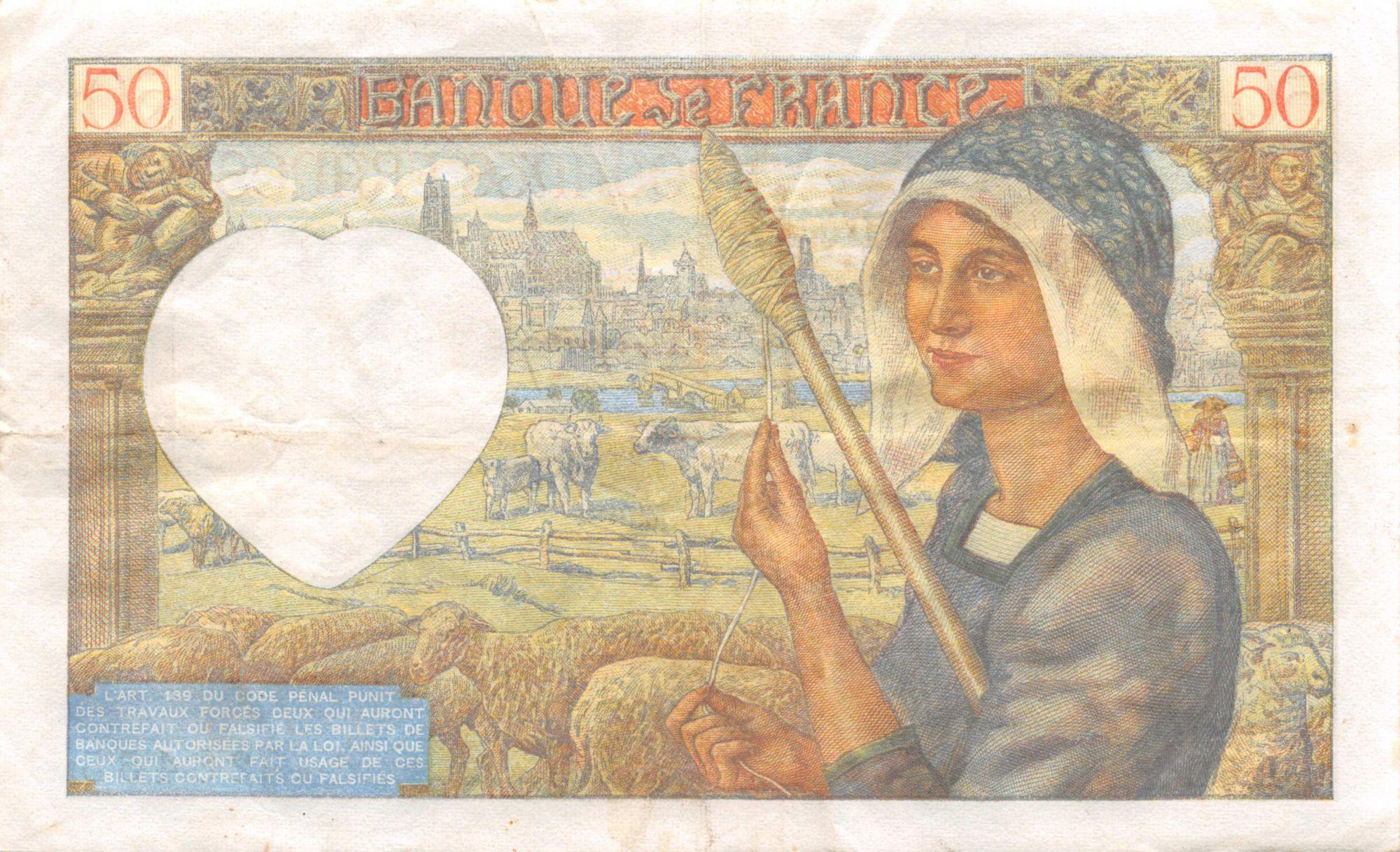 France 50 Francs Jacques Coeur - 24-04-1941 Série L.70 - TTB