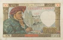 France 50 Francs Jacques Coeur - 24-04-1941 Série V.70 - TTB
