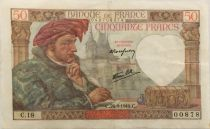France 50 Francs Jacques Coeur - 26-09-1940 Serial C.18 - VF