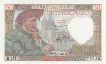 France 50 Francs Jacques Coeur -08-01-1942 - Serial H.157- aUNC