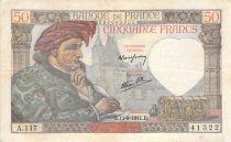 France 50 Francs Jacques Coeur -11-09-1941 Série A.117 - TB+