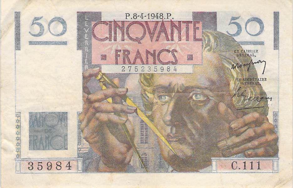 France 50 Francs Le Verrier - 08-04-1948 - Série C.111 - TB+