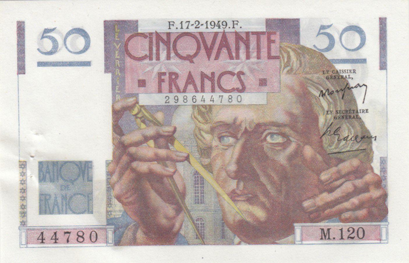 France 50 Francs Le Verrier - 17-02-1949 Série M.120 -  SPL