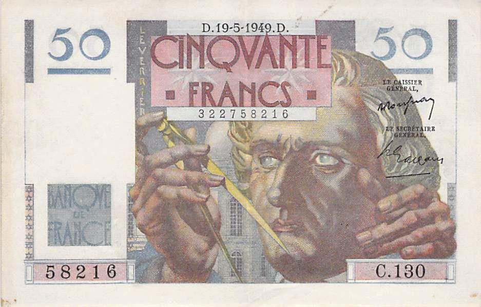 France 50 Francs Le Verrier - 19-05-1949 - Série C.130 - TTB+