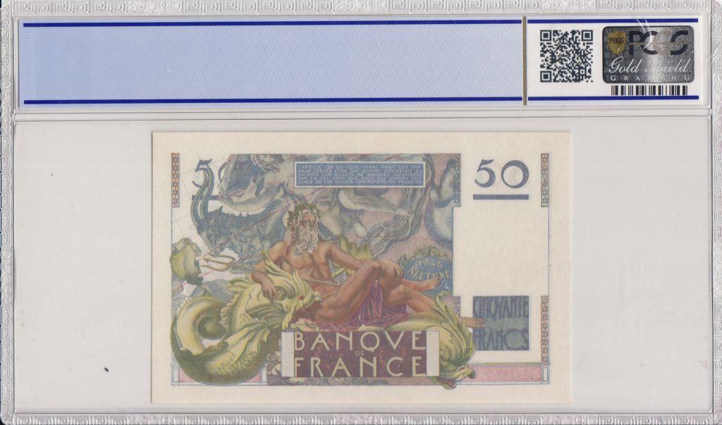 France 50 Francs Le Verrier - 1951 - PCGS AU 58