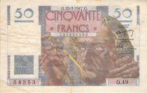 France 50 Francs Le Verrier - 20-03-1947 - Serial Q.49 - F