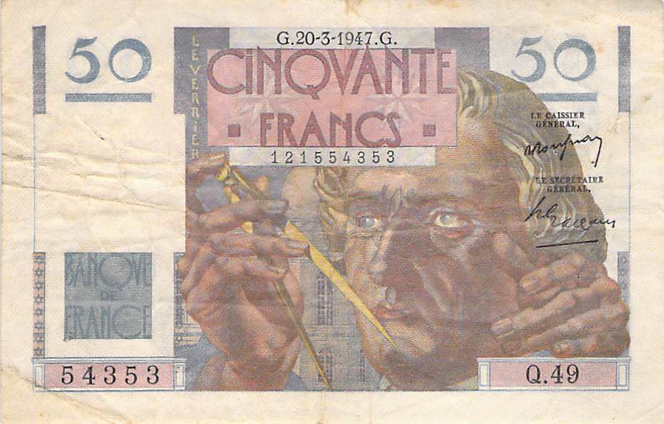 France 50 Francs Le Verrier - 20-03-1947 - Série Q.49 - TB