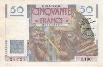 France 50 Francs Le Verrier - 24-08-1950 - Serial C.160 - F to VF