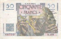 France 50 Francs Le Verrier - 24-08-1950 - Serial E.166 - F
