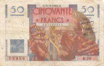 France 50 Francs Le Verrier - 31-05-1946 Serial B.28 - F
