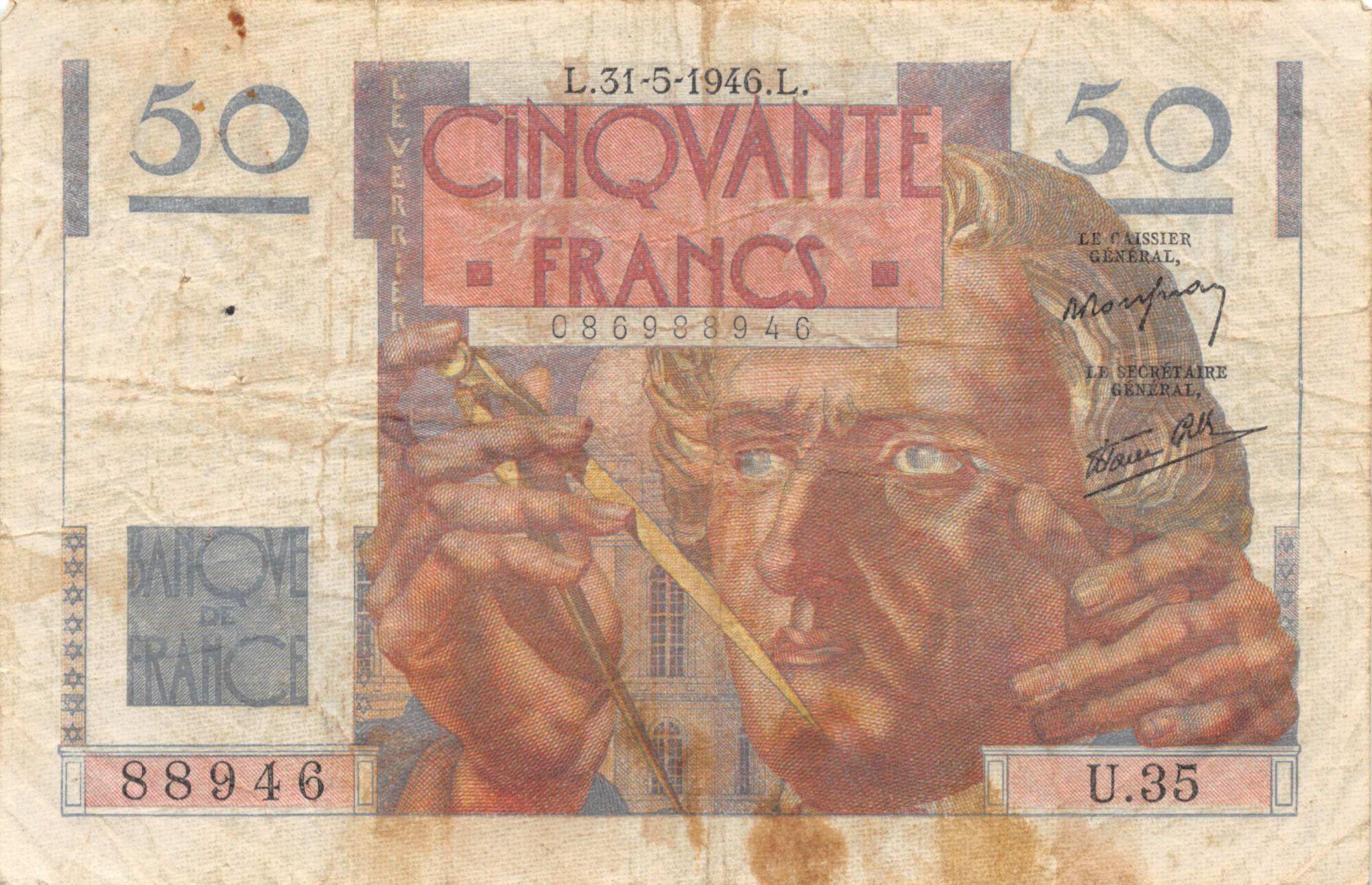 France 50 Francs Le Verrier - 31-05-1946 Série U.35 - TB