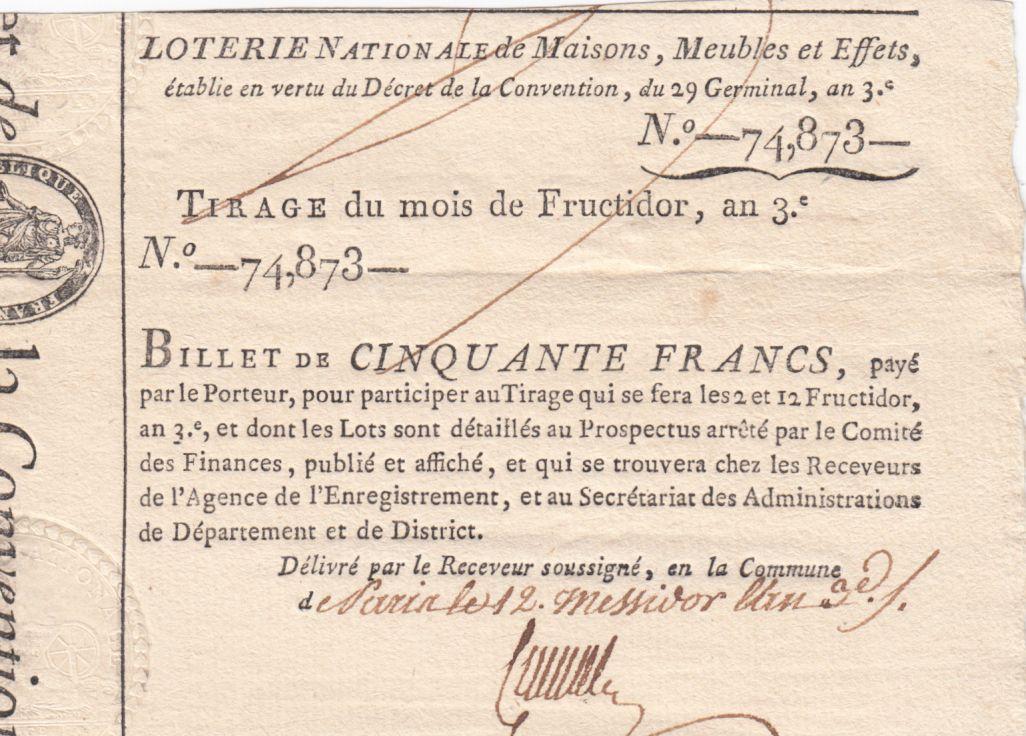 France 50 Francs Loterie de la Convention - 29 Germinal An 3 (1795) et Prospectus
