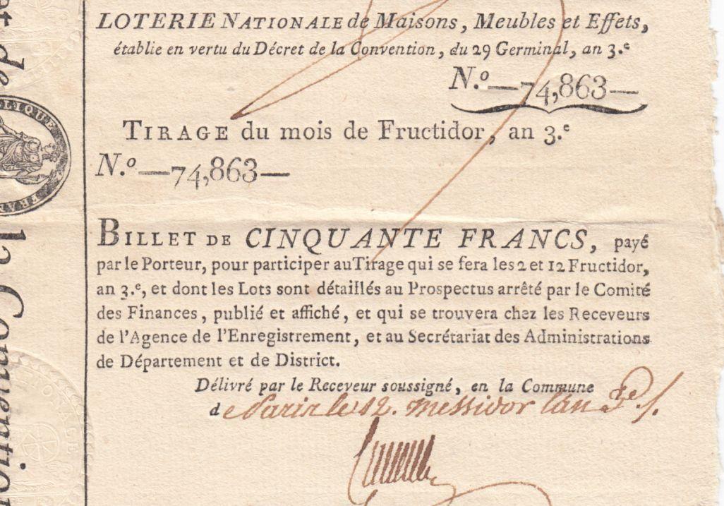 France 50 Francs Loterie de la Convention- 29 Germinal An 3 (1795) - XF to AU