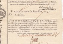 France 50 Francs Loterie de la Convention- 29 Germinal An 3 (1795) - XF to AU