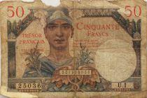 France 50 Francs Mercure, Trésor Français - 1947 - Série U.1 - B+