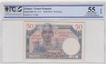 France 50 Francs Mercury, French Treasury - 1947 - Serial F.2 - PCGS 55 OPQ