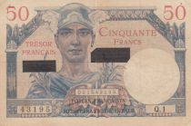 France 50 Francs Mercury, French Treasury - Suez 1956 - Serial Q.1 - VF