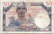 France 50 Francs Mercury, French Treasury  1947 - Serial U.1 - F to VF