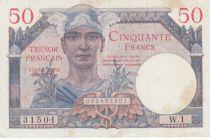 France 50 Francs Mercury, French Treasury  1947 - Serial W.1 - VF